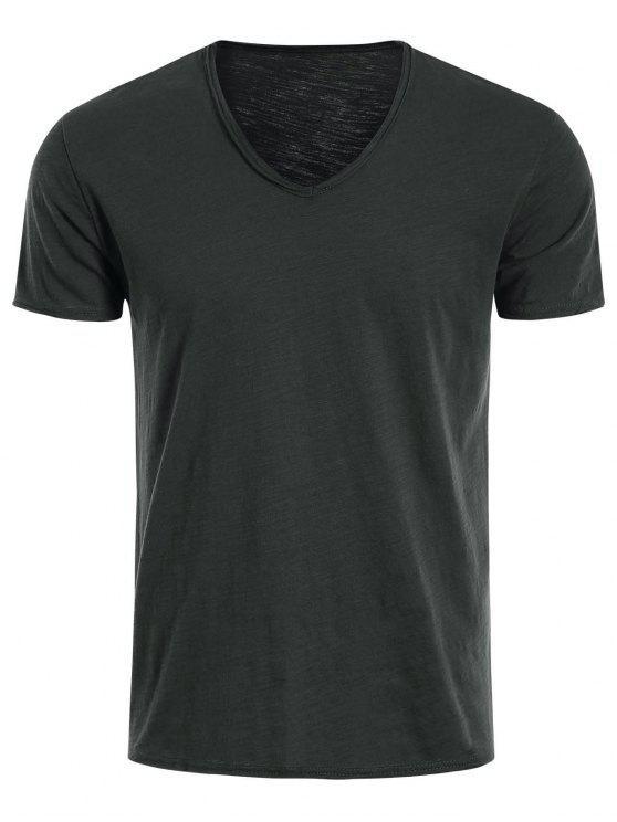 Camiseta básica de algodón con cuello V para hombre - Gris Oscuro XL