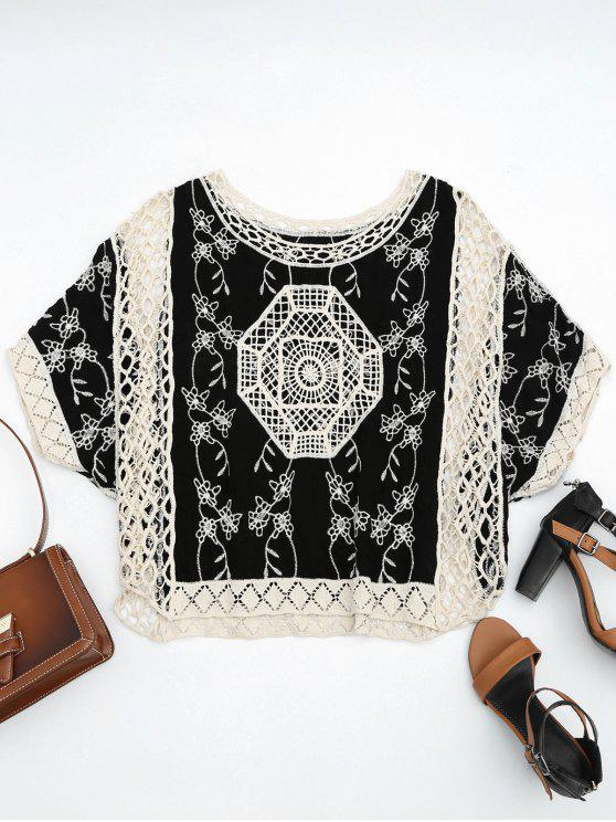 unique Crochet Panel Poncho Beach Cover Up - BLACK ONE SIZE
