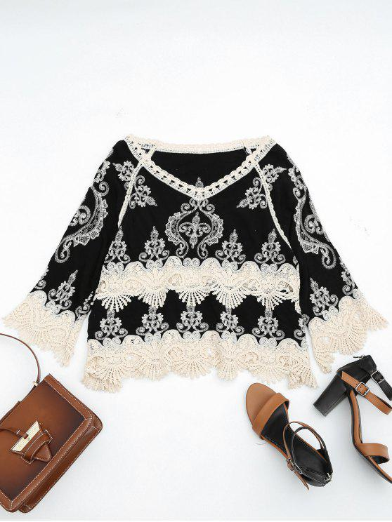 affordable Contrasting Crochet Panel Beach Cover Up Top - BLACK ONE SIZE