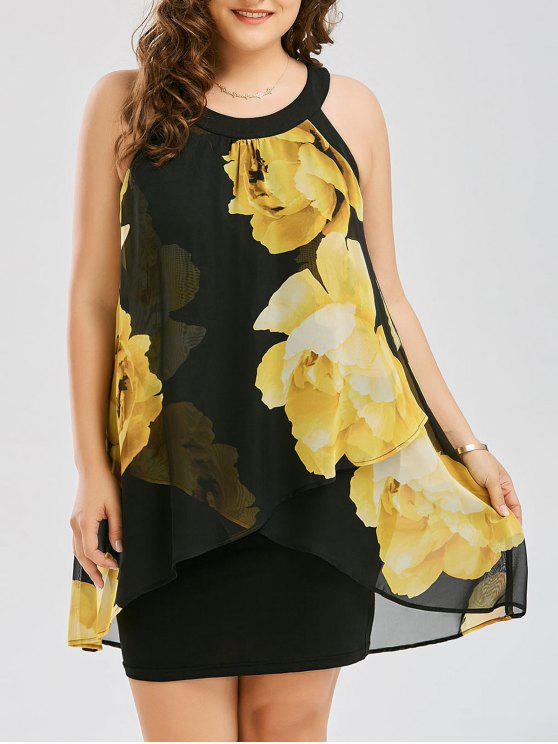 chic Plus Size Floral Print Overlay Sheath Dress - YELLOW XL