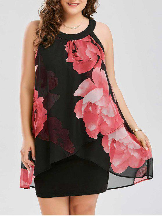 buy Plus Size Floral Print Overlay Sheath Dress - RED XL