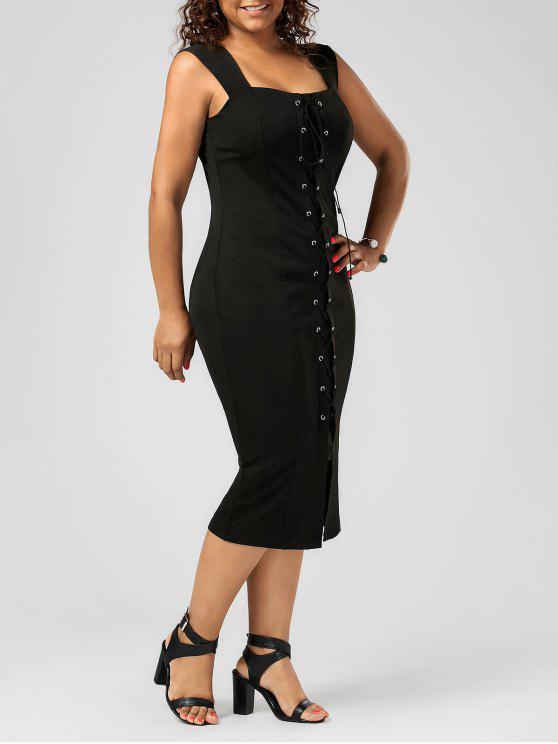 فستان الرباط ضيق الحجم الكبير ميدي - أسود 4XL