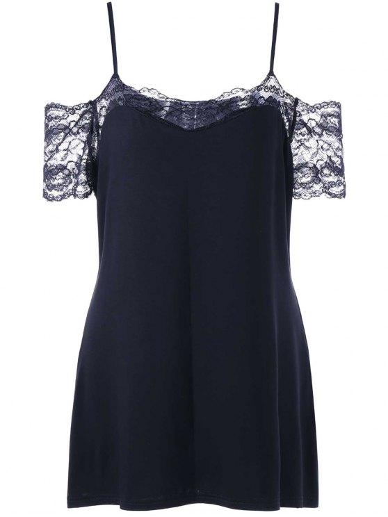women Plus Size Lace Trim Dew Shoulder T-shirt - BLACK 5XL