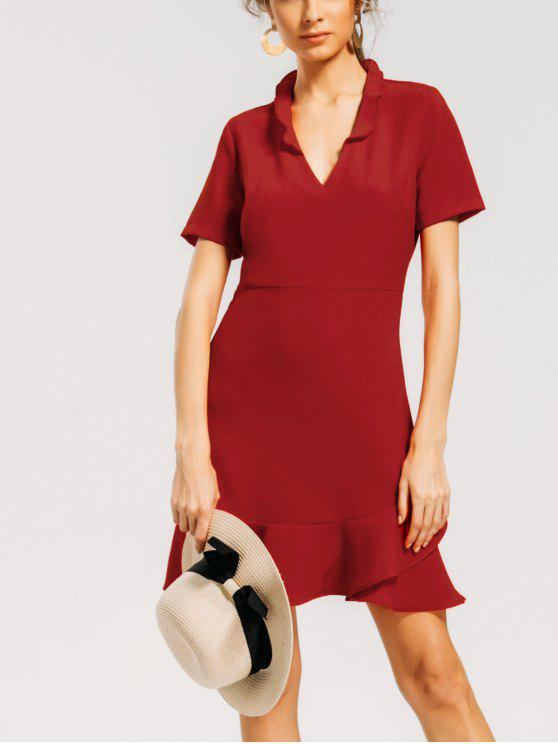 A فستان سحاب الظهر كشكش بخط - أحمر M