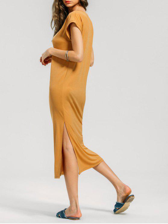 Batwing Slit Prom Midi Kleid Ingwer-gelb: Casual Kleider XL | ZAFUL
