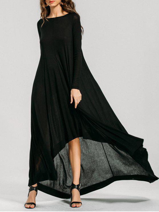 فستان طويلة الأكمام عالية انخفاض ماكسي - أسود L
