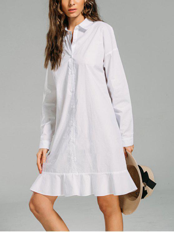71a991287 30% OFF] 2019 Button Down Ruffled Hem Shirt Dress In WHITE   ZAFUL