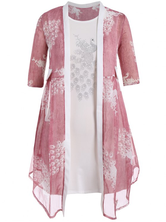 Bodycon Übergröße Kleid mit Pfau Kimono - Pink 2XL
