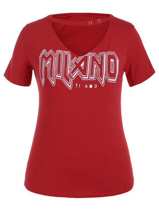 women Plus Size Graphic Choker Tee - RED 2XL