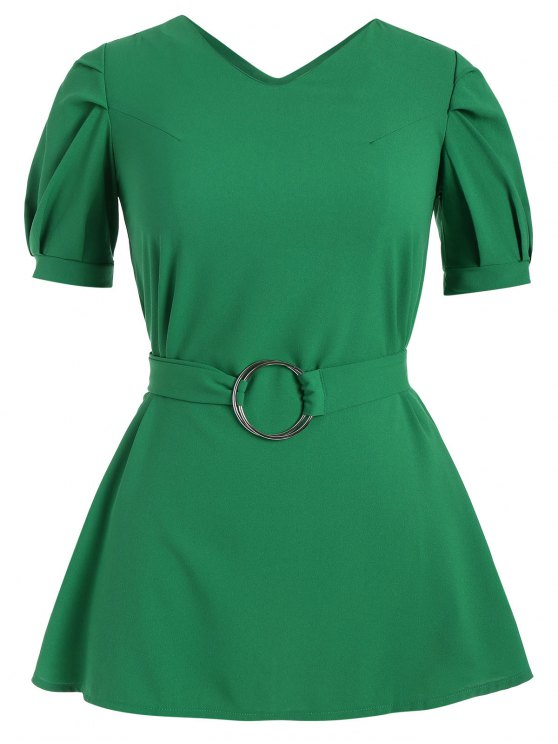 Puff Sleeve Plus Size Belted Dress - Vert 5XL