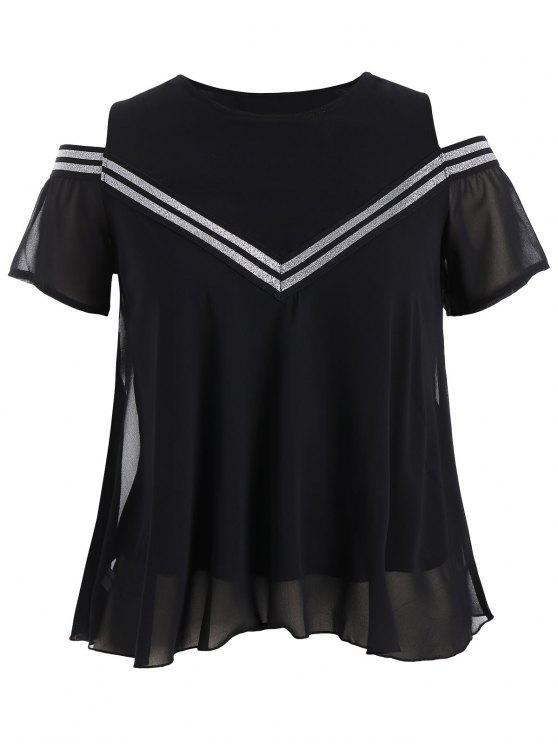 hot Plus Size Cold Shoulder Patterned Blouse - BLACK 3XL