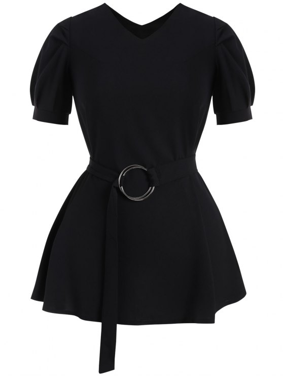 outfit Puff Sleeve Plus Size Belted Dress - BLACK 4XL