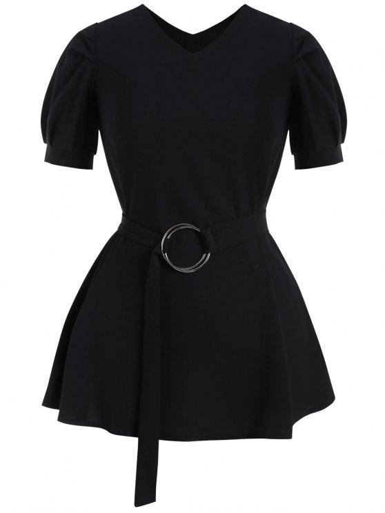 Puff Sleeve Plus Size Belted Dress - Noir 2XL