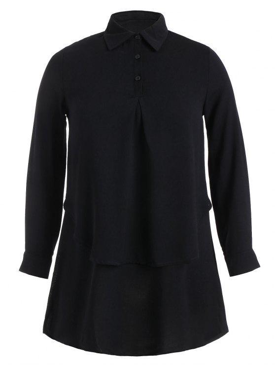chic Double Layered Plus Size Longline Blouse - BLACK 4XL