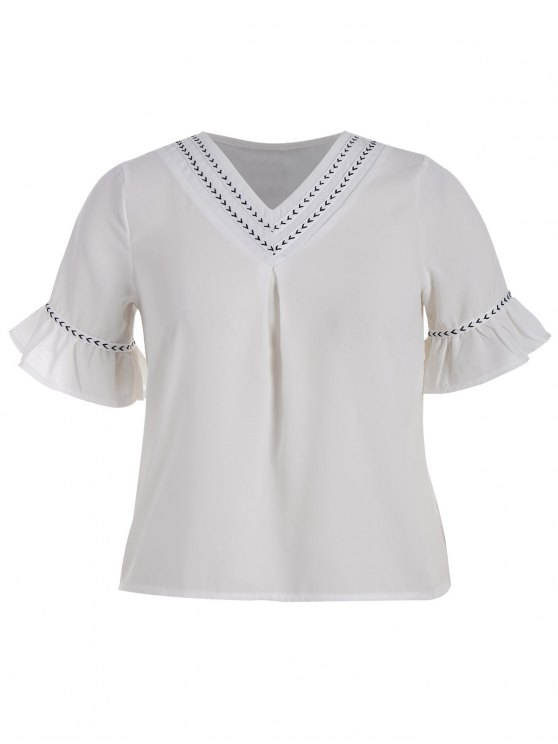 womens Plus Size Bell Sleeve Tunic Chiffon Blouse - WHITE 3XL