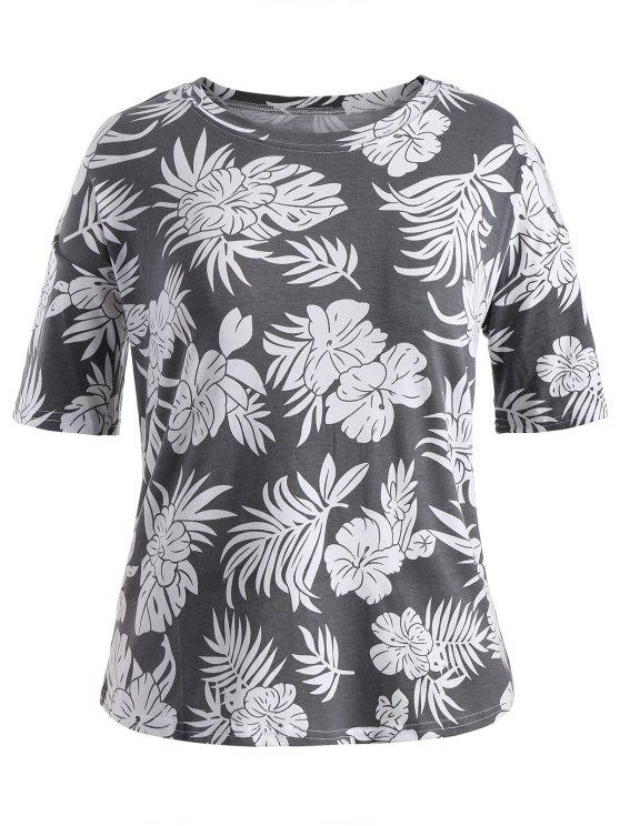 online Short Sleeve Plus Size Graphic Leaf Print Tee - GRAY 2XL