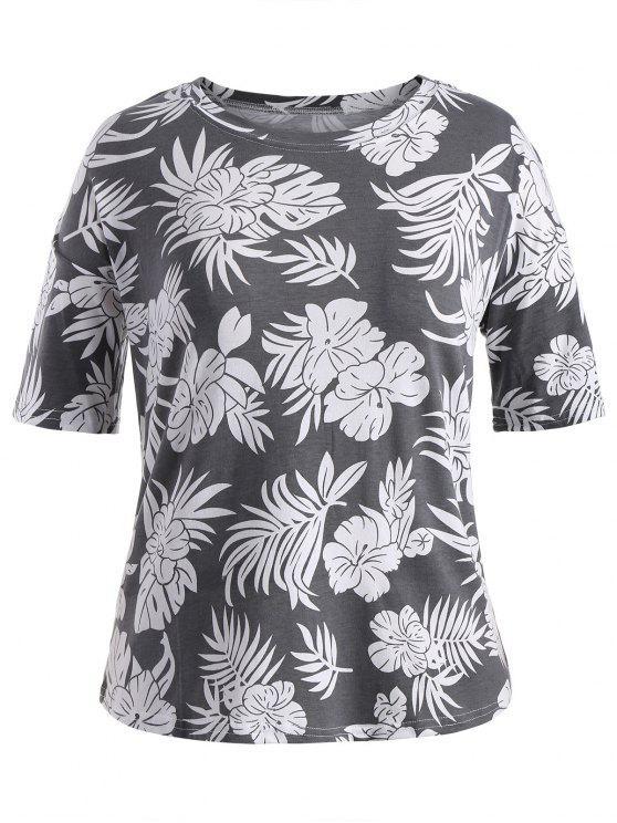 T-shirt graphique imprimé à manches courtes à manches courtes - Gris 3XL