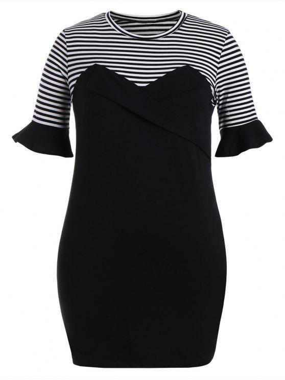 Robe courte à rayures - Noir 3XL