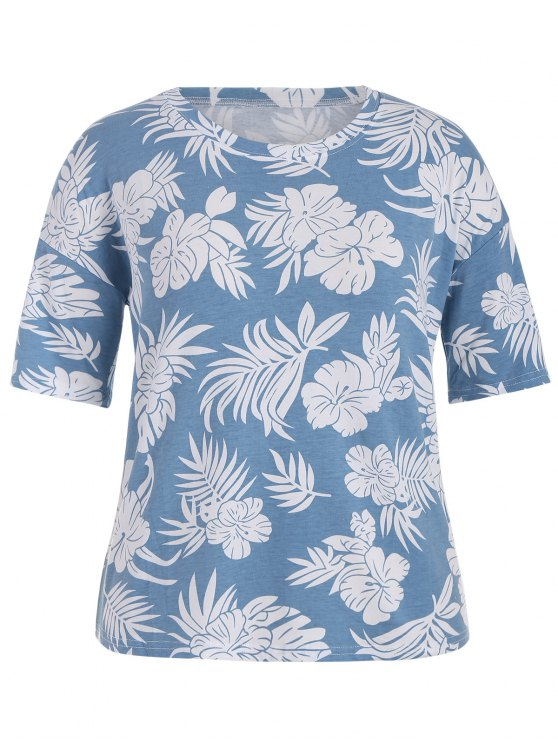 trendy Short Sleeve Plus Size Graphic Leaf Print Tee - CLOUDY 3XL