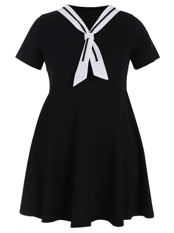 Plus Size Tied Skater Sailor Kleid - Schwarz 4XL