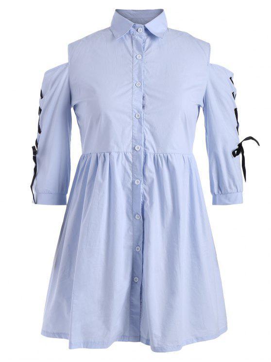 Plus Size Lace Up Vestido de camisa de hombro frío - Celeste 5XL