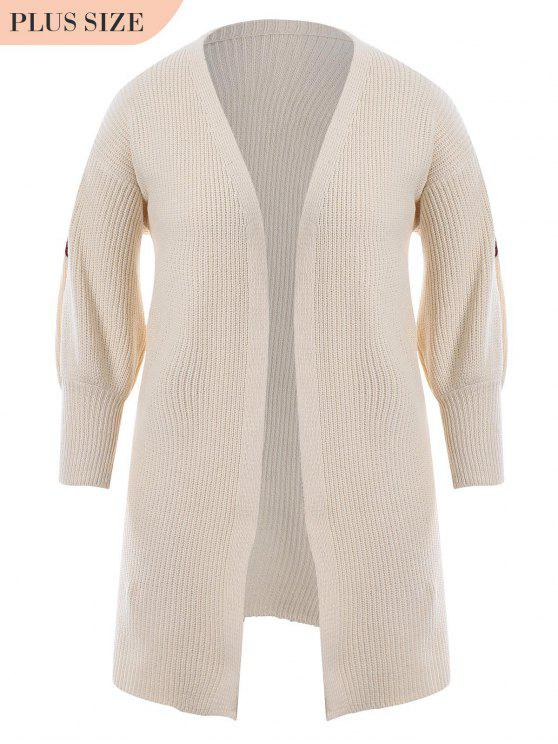 latest Plus Size Open Front Embroidered Cardigan - OFF-WHITE ONE SIZE
