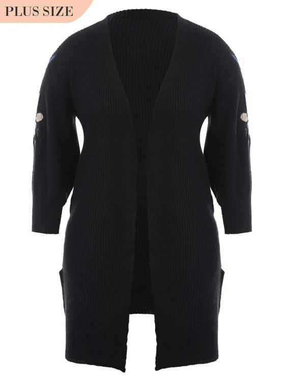 fashion Plus Size Open Front Embroidered Cardigan - BLACK ONE SIZE