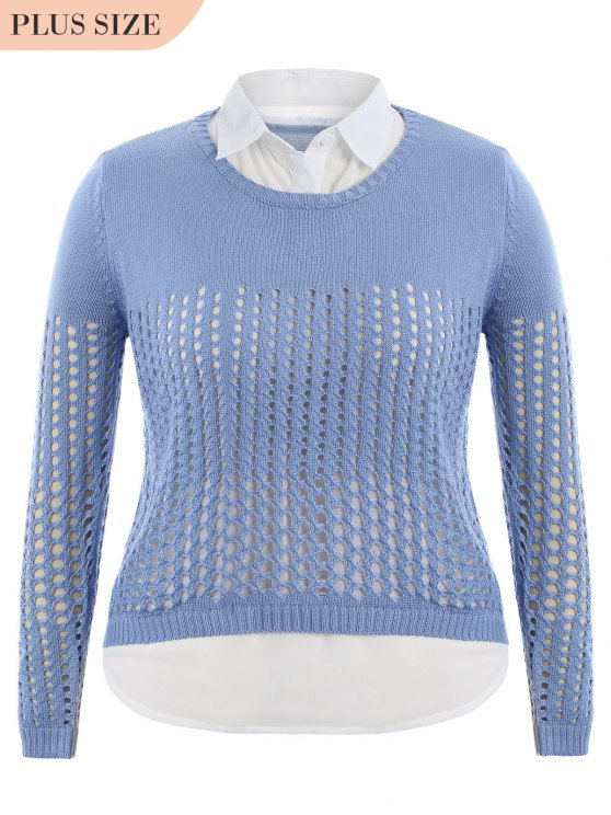 ladies Plus Size Sheer High Low Knitwear - LIGHT BLUE 2XL