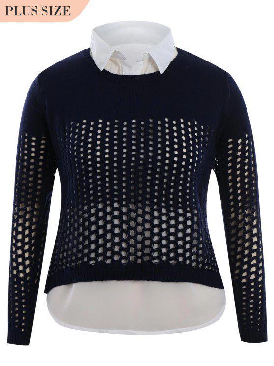 Más tamaño Sheer High Low Knitwear - Azul Purpúreo XL