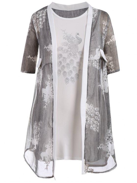 Bodycon Übergröße Kleid mit Pfau Kimono - Grau 2XL