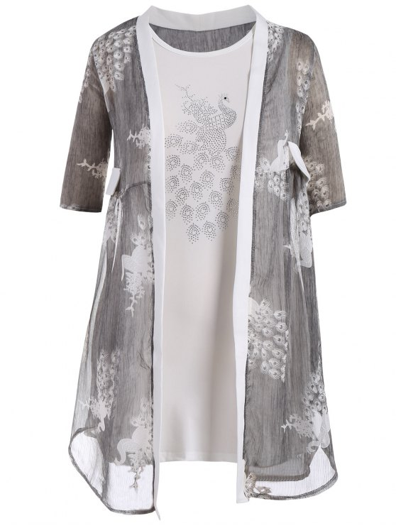 shops Bodycon Plus Size Dress with Peacock Kimono - GRAY 4XL