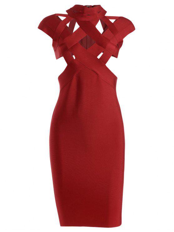 Robe courte en bandoulière - Rouge L