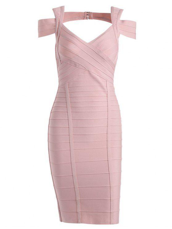 latest Sweetheart Neck Cut Out Bandage Dress - PINK M