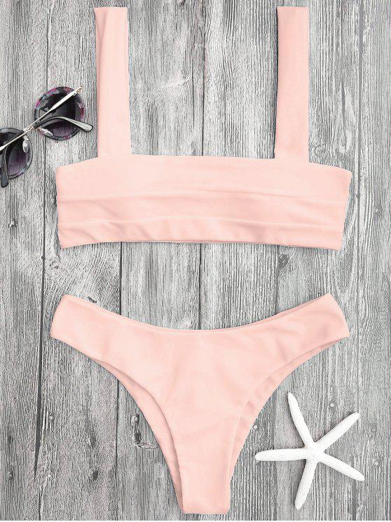 trendy Bandeau Padded Bikini Top and Bottoms - SHALLOW PINK S
