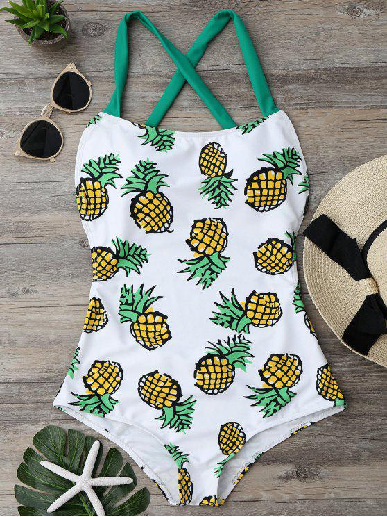 women's Pineapple Print Cross Back Swimsuit - COLORMIX L