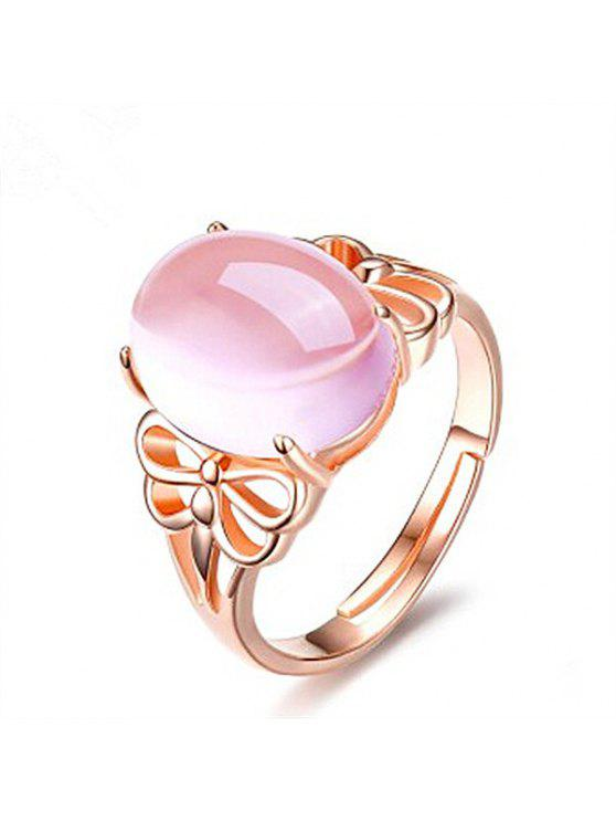 chic Faux Crystal Gem Dragonfly Oval Ring - ROSE GOLD