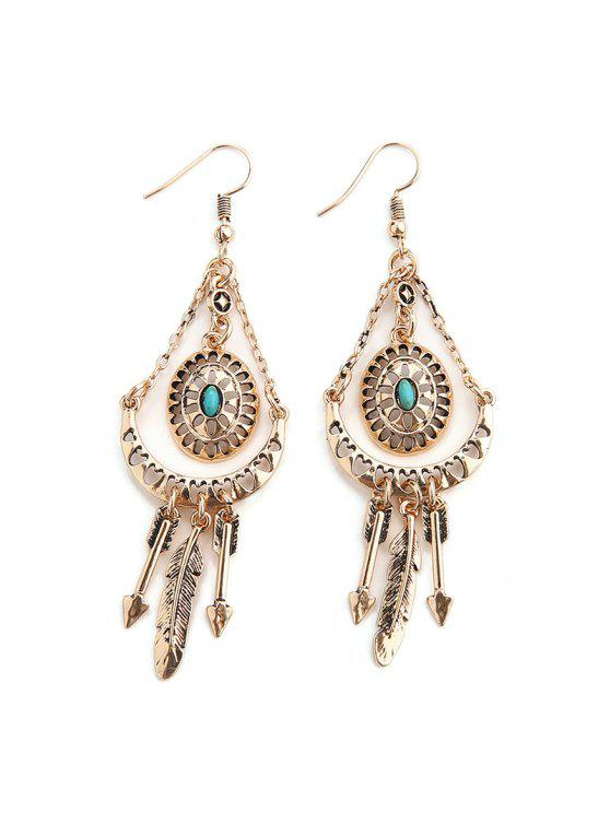 women Faux Turquoise Arrow Feather Hook Earrings - GOLDEN