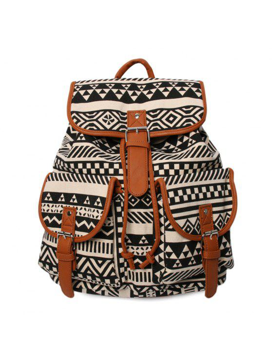 best Buckles Ethnic Print Canvas Backpack - BLACK AND BROWN