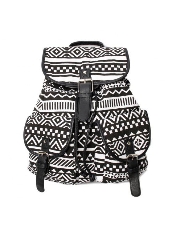 women's Buckles Ethnic Print Canvas Backpack - BLACK