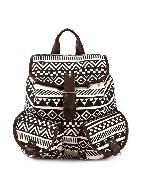 ladies Buckles Ethnic Print Canvas Backpack - COFFEE