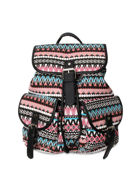 lady Buckles Ethnic Print Canvas Backpack - BLACK AND PINK