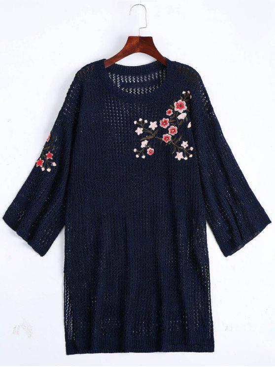 Suéter con bordados florales - Azul Purpúreo Única Talla