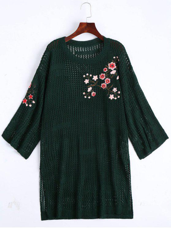 Sheer Pullover Kleid mit Blumenstickerei - Dunkelgrün Eine Größe