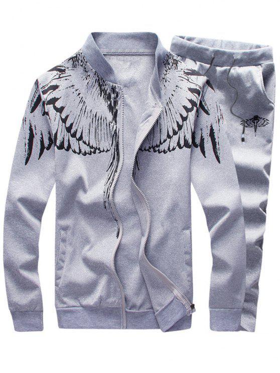 بدلة الملابس طباعة الأجنحة ووقوف الرقبة وبسحاب - رمادي فاتح 2XL