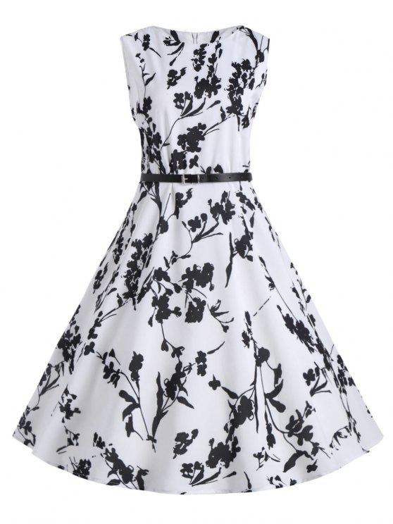 452a050343a3e 2019 Plus Size Floral Midi Retro Dress With Belt In WHITE 4XL