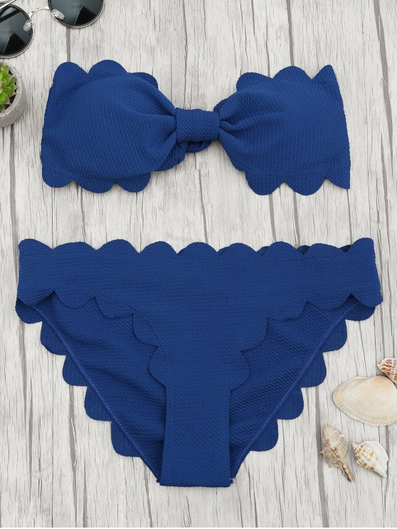 lady Padded Scalloped Bandeau Bikini Set - DEEP BLUE S
