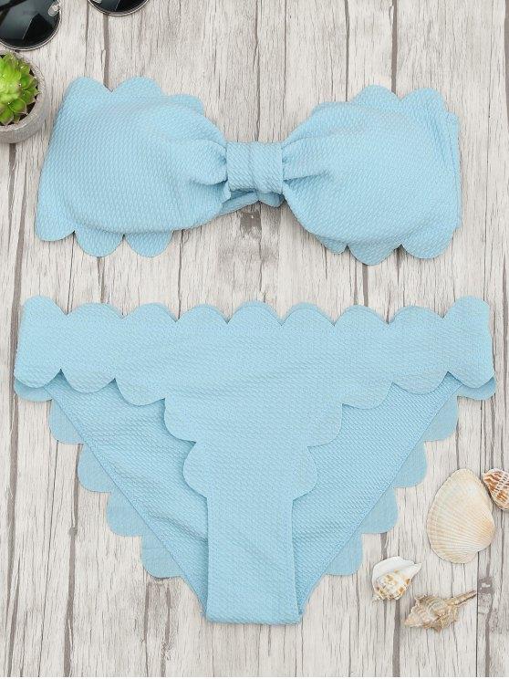 Ensemble de bikini à bandeaux gratté rembourré - Bleu Clair S