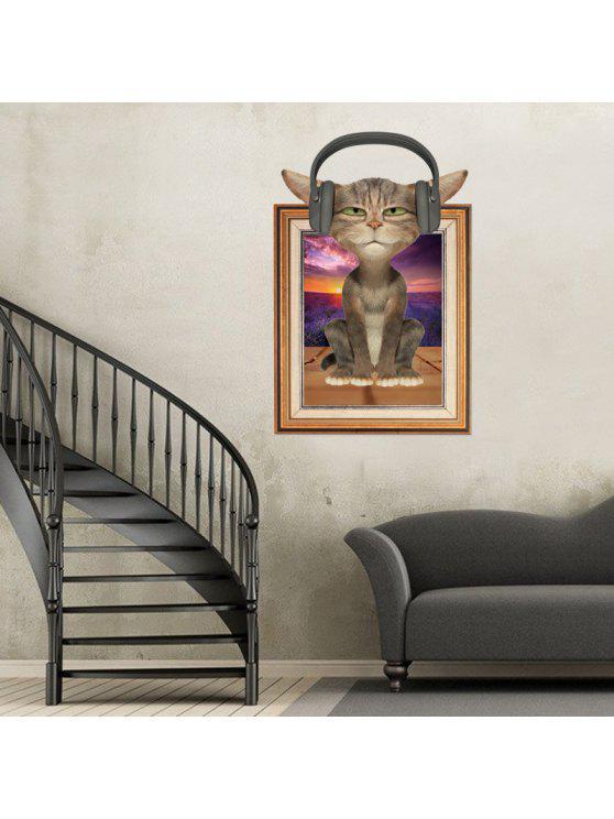 3d القط إطار الصورة الحيوان الجدار ملصق للأطفال - Colormix 60 * 90CM