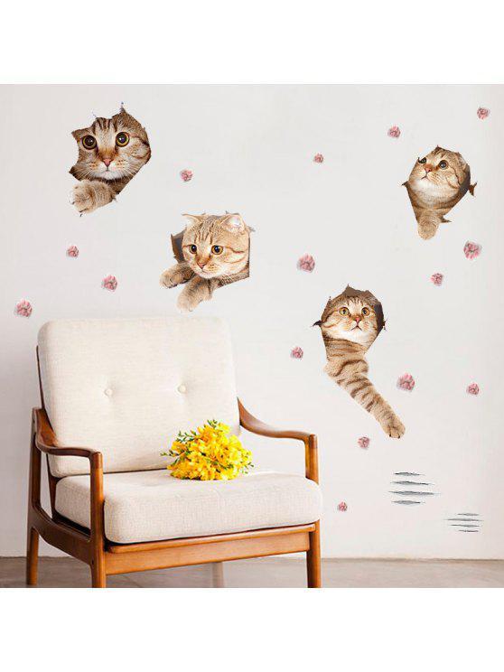 القط الحيوان للإزالة جدار الفن ديكور ملصق - البني الفاتح 50*70CM