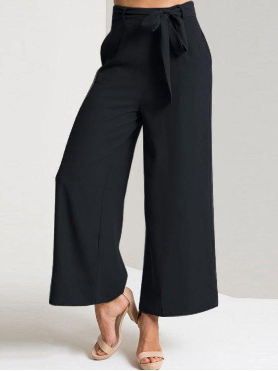 Calças de perna larga com tornozelo de cintura alta - Preto L